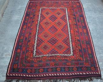 Large Stunning handwoven tribal Afghan hazara Ghalmori kilim / Traditional kuchi kilim decorative Turkish kilim/ Bohemian Afghan kilim rug