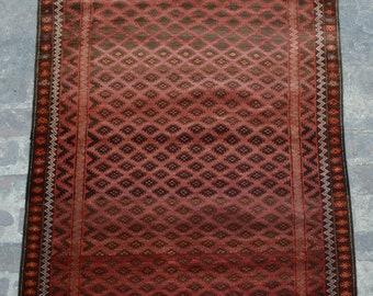 Elegant vintage Afghan tribal Qalaino baluchi rug