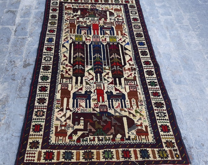 3.7 x 6.3 ft. Fine Hand knotted Afghan Pictorial Rug