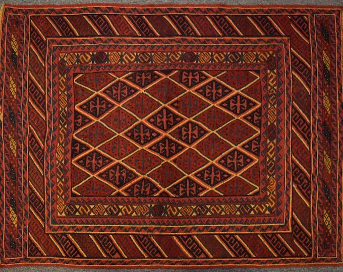 Elegant Afghan tribal mushwani kilim rug / mixture of kilim and rug