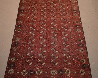 Semi Antique turkoman Bokhara tribal handmade wool rug / Decorative rug vintage Turkoman tekka traditional rug