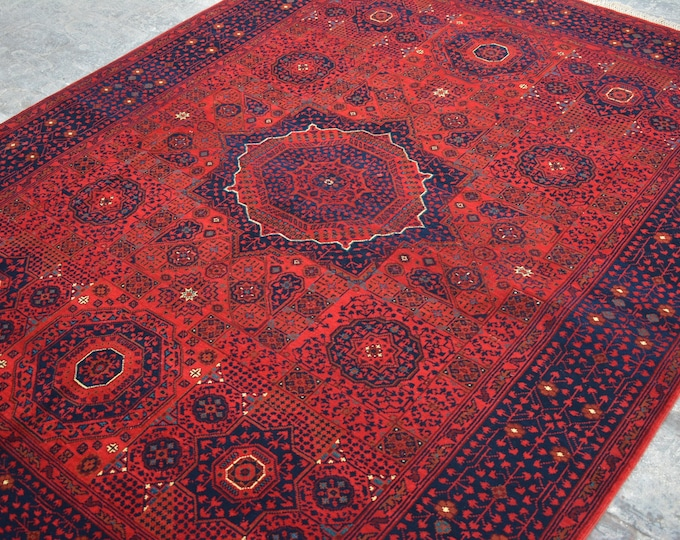 High Quality Afghan turkoman tribal Mamlook Khalmohammadi handmade wool rug / Decorative rug vintage afghan traditional rug