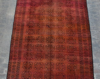 Large Vintage Afghan turkoman tribal Sulaimani handmade wool rug / Decorative rug vintage afghan traditional rug