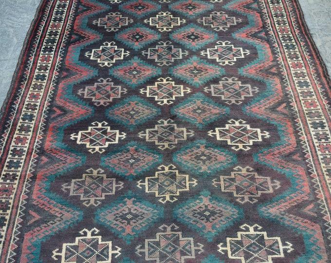 Antique Caucasian handmade wool rug / Decorative rug Antique Caucasian traditional rug