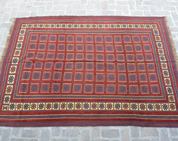Afghan tribal handmade berjesta large kilim rug/ Free Shipping/ 199 x 284 cm