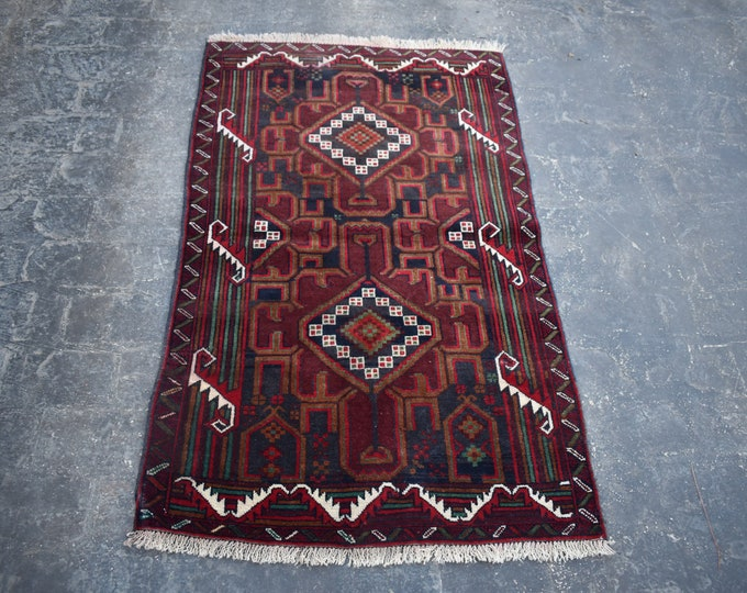 3'0 x 4'8 Afghan Baluch rug - 3x5 rug - hand knotted wool rug - kitchen rug - area rug - tribal rug - turkish small rug - free shipping