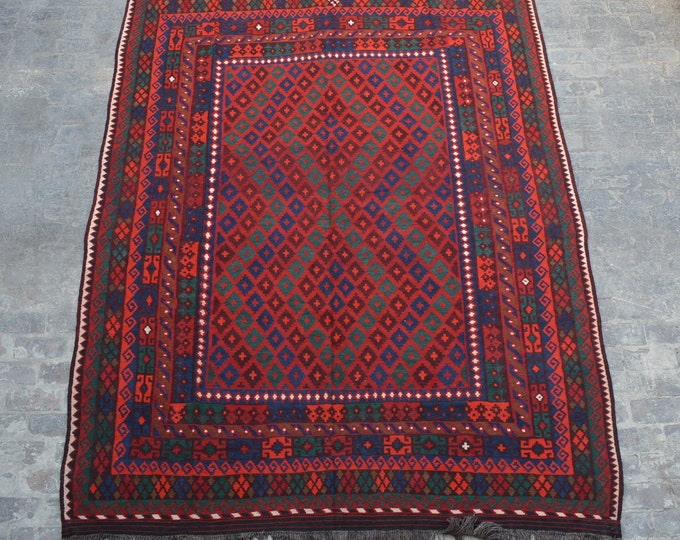 Large Stunning handwoven tribal Afghan hazara Ghalmori kilim / Traditional kuchi kilim decorative Turkish kilim/ Bohemian Afghan kilim