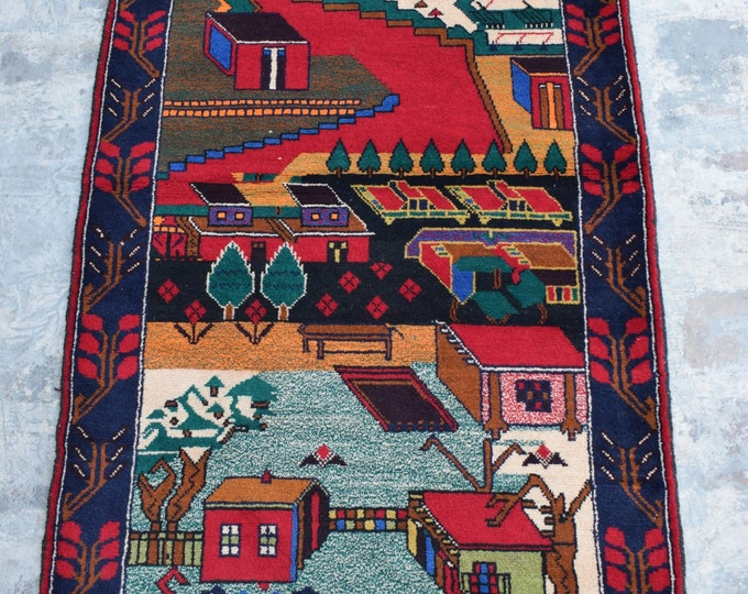 "Hand knotted Afghan Tribal baluch city map rug / 2'10 x 4'9"" ft"