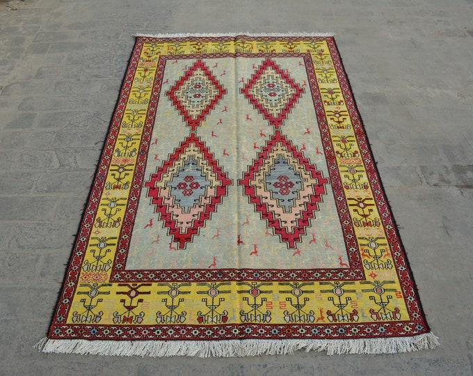 Vintage Spectacular handwoven tribal Turkish nomadic Pictorial Silk kilim / Traditional kuchi kilim/ Turkish Chicken pictorial Silk kilim