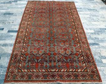 1920's Antique Orange Chinese Khotan Handmade Art Deco Rug - Living room rug, Bedroom rug, FREE SHIPPING