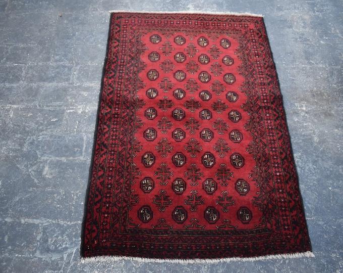 3'0 x 4'8 Red Afghan vintage Bokhara rug - tribal handmade rug - kitchen rug - bathroom rug - nomad's rug -