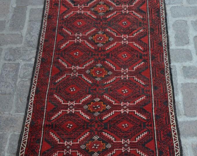Vintage Afghan handmade Rug/ Free Shipping 89 x 199 cm