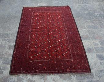 Large Vintage Afghan turkoman tribal bashiri handmade wool rug / Decorative rug vintage afghan traditional rug