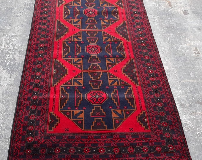3'10 x 6'9 ft. Afghan tribal hand knotted rug, Traditional Baluchi rug, Free Shipping