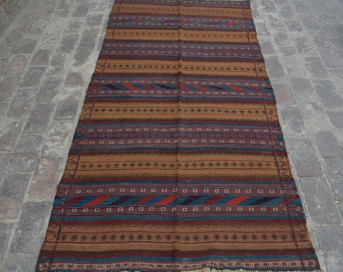 Vintage Stunning handwoven tribal Afghan hazara baluchi kilim / Traditional kuchi kilim decorative Turkish kilim