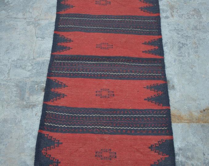 Elegant handmade small Afghan Sofreh kilim 100% wool