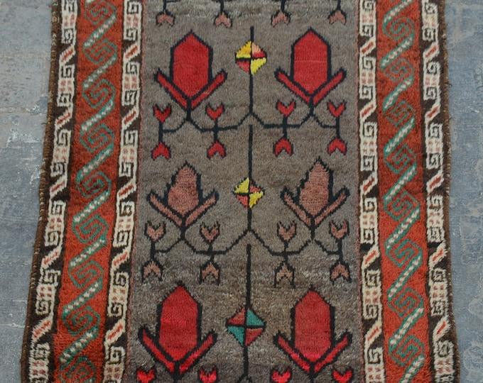 Elegant vintage Afghan tribal light grey baluchi rug
