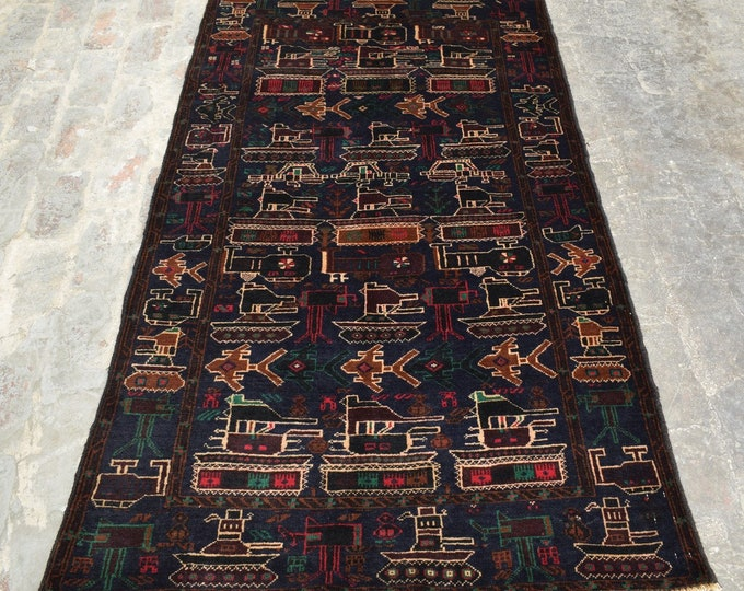 3'10 x 6'5 - Handmade Afghan Tribal War rug, 100% wool