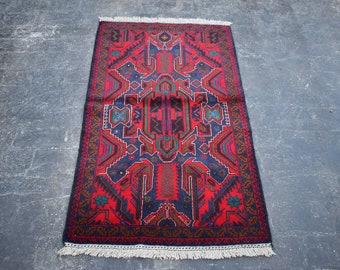 2'10 x 4'9 red Afghan rug - hand knotted wool rug - kitchen rug - area rug - tribal rug - turkish small rug - free shipping