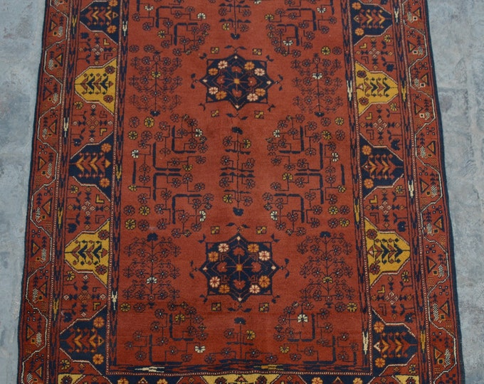 FREE SHIPPING 2.4 x 5.0 ft Afghan Vintage Tribal turkman rug / Home decor Rug this rug will make your house even more Beautiful and colorful