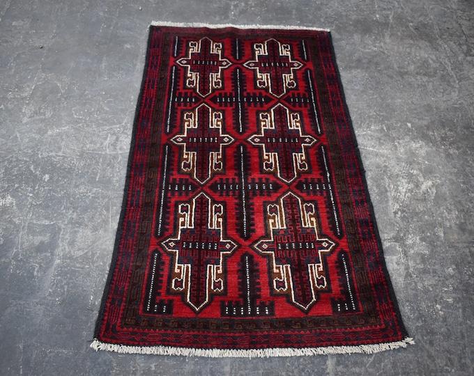 3'0 x 4'7 Afghan rug - hand knotted wool rug - kitchen rug - area rug - tribal rug - turkish small rug - free shipping