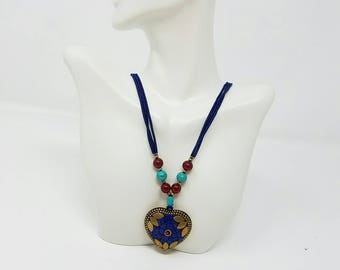 Free shipping Afghan Necklace, Kuchi Necklace, Ethnic Jewelry, Nomad style, Handmade Necklace, Lapis Lazuli