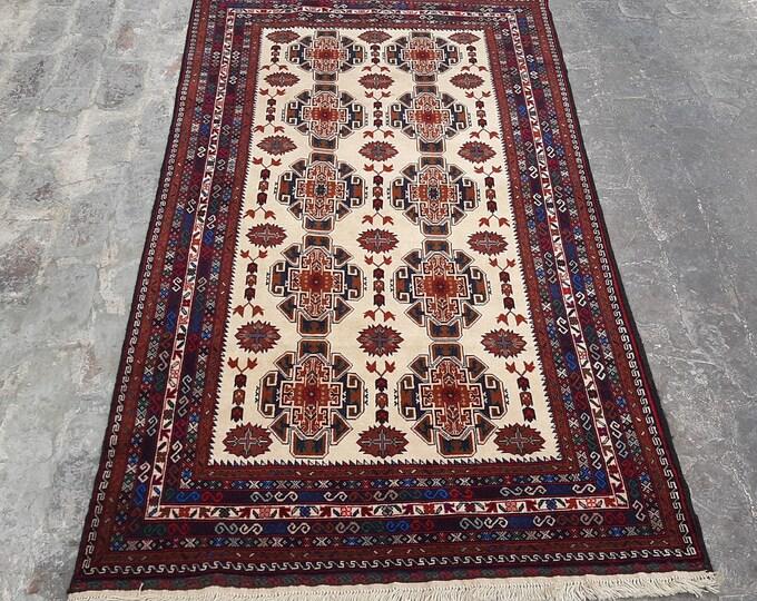 "3'10 x 6'7"" ft. Handmade Afghan tribal Rug, Free Shipping"