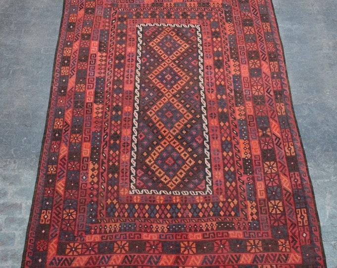 "7'8 x 12'0"" ft. - Large Vintage Afghan tribal kilim Rug, Traditional ghalmori kilim"