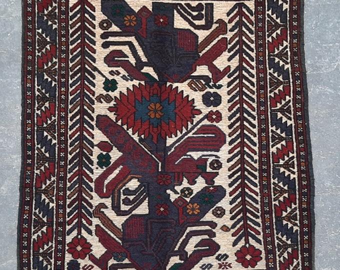 3'3 x 4'11 ft. Afghan Tribal handmade Burjesta kilim rug, Free Shipping