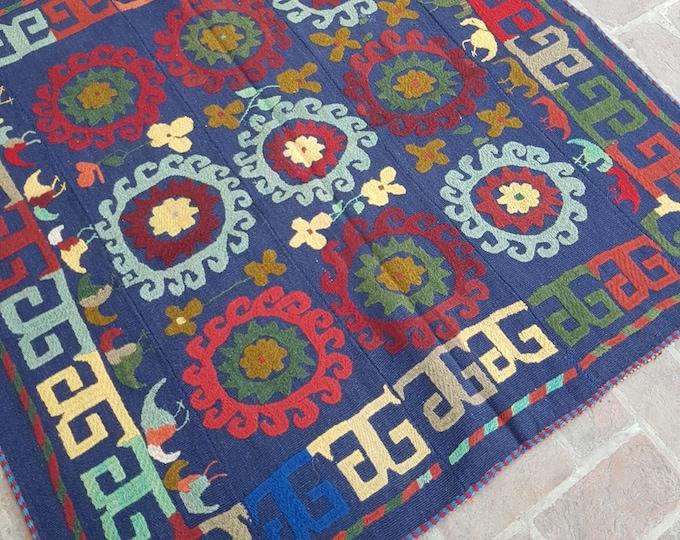 145x145 Uzbek Handmade tribal kilim - Embroidery kilim rug - wool kilim rug - decorative Square kilim - Boho kilim - turkish kilim