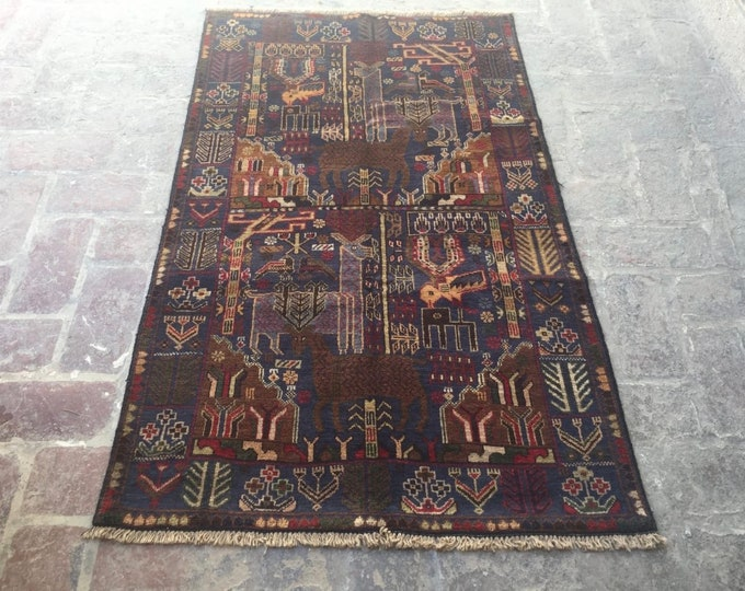 Nomad's Genuine Hand Knotted Afghan Aksi Balouch Pictorial Wool Area Rug / Wall hanging Wool rug / baluch hand knotted wool Carpet