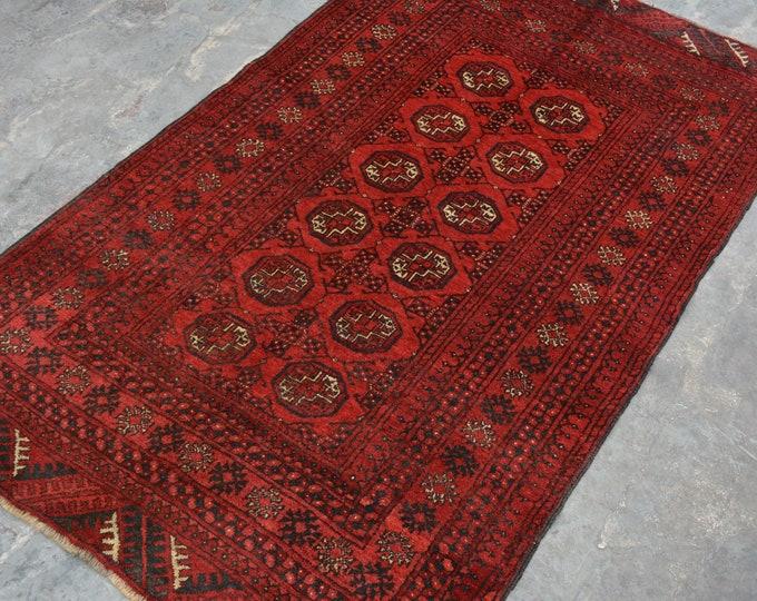 Afghan vintage tekke hand knotted rug