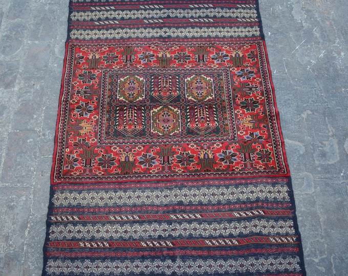 Stunning high quality hand knotted Afghan tribal belgium wool burjesta kilim rug / Decorative rug vintage afghan traditional rug
