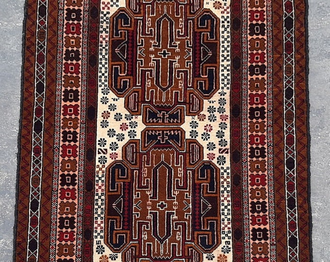 3'0 x 5'4 ft. Afghan tribal hand knotted rug, Traditional Baluchi rug, Free Shipping
