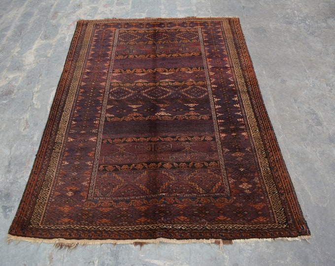 Vintage Turkoman hand knotted traditional rug