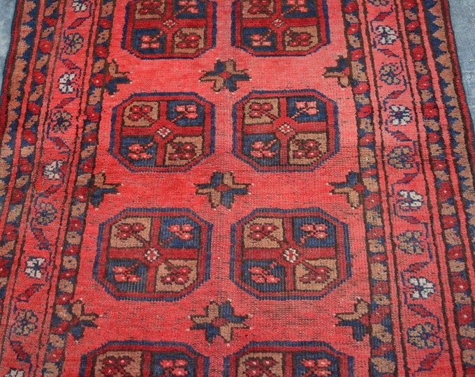 Antique Afghan turkoman tribal Chobbash Bokhara handmade wool rug / Decorative rug vintage afghan traditional rug