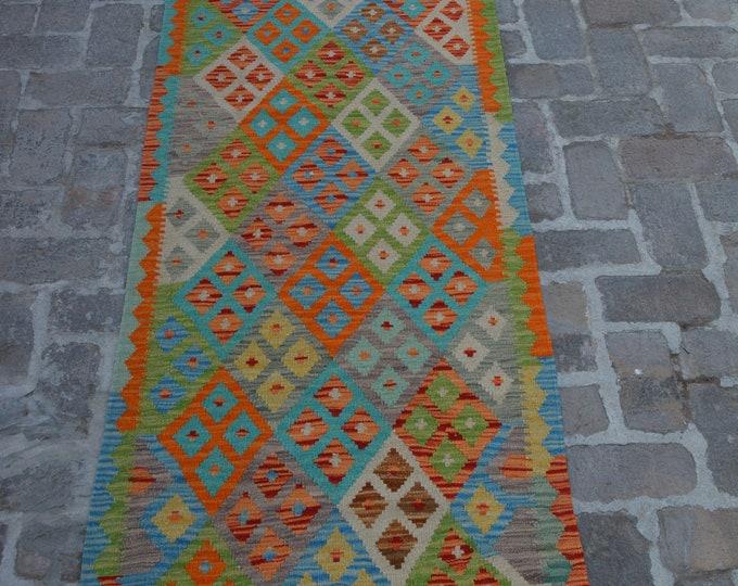Colorful Handmade Afghan kilim Rug Runner/ Free Shipping - 82 x 297 cm