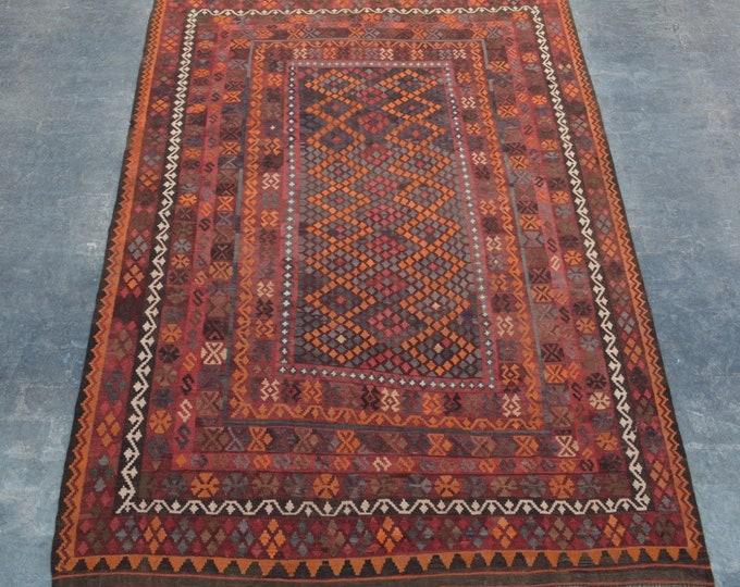 "6'8 x 12'2"" ft. - Handwoven Afghan tribal vintage Kilim rug"