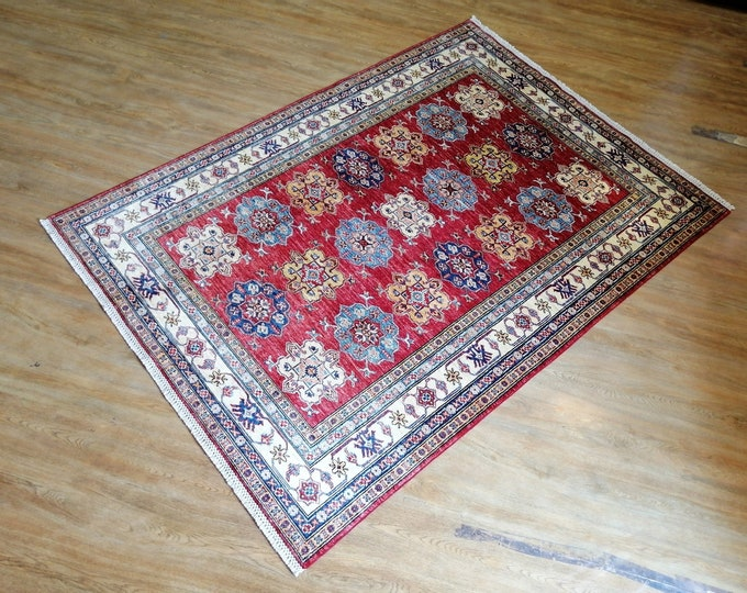 FREE SHIPPING 4'9 x 7'0 ft Stunning hand knotted Afghan Super kazak Rug ghazni wool this rug will make your room even more beautiful
