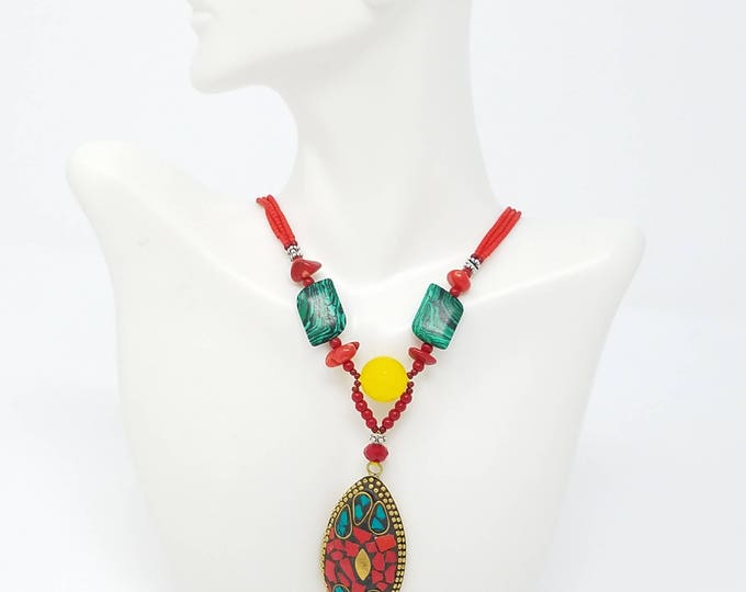 Beautiful Afghan Kuchi Necklace , tribal hobo style/ Afghan jewelry