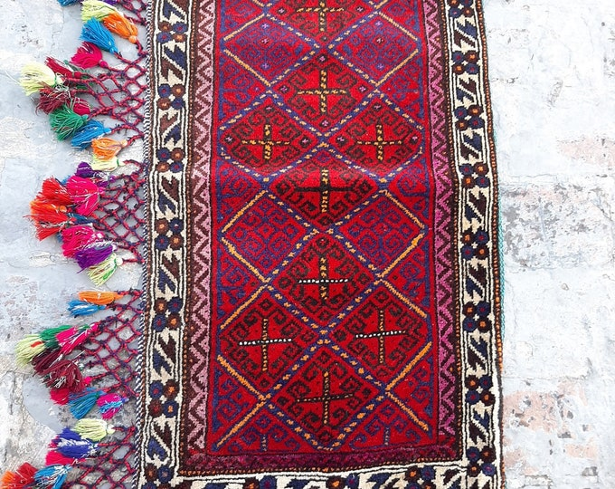 1'7 x 3'3 ft. Afghan Baluch Balisht Bag, Nomadic Wall Hanging, Tribal Style Tapestry