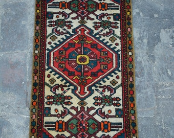 Vintage Caucasian tribal handmade wool rug / Decorative rug vintage afghan traditional rug