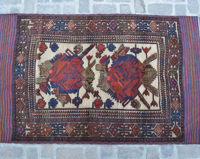 Vintage Afghan Tribal Berjesta Kilim Rug / Free Shipping/ 120 x 198 cm
