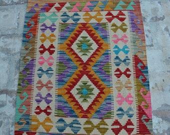 Afghan vintage Handwoven ghalmori nomadic kilim / Tribal maldari Decorative kilim