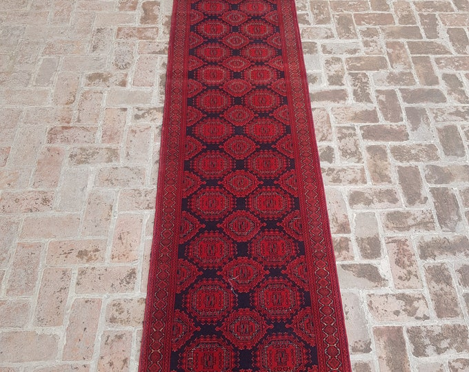 80x350 vintage Afghan hand knotted Sarook rug runner - tribal wool red runner rug - Free Shipping