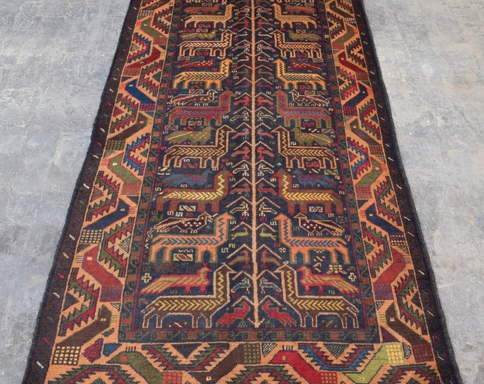 3'8 x 7'2 - Vintage Terracotta Animal Area Rug for living room Afghan rug boho rug wool rug handmade rug