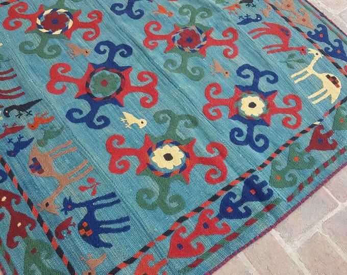 167x169 Uzbek Handmade tribal kilim - Embroidery kilim rug - wool kilim rug - decorative Square kilim - Boho kilim - turkish kilim