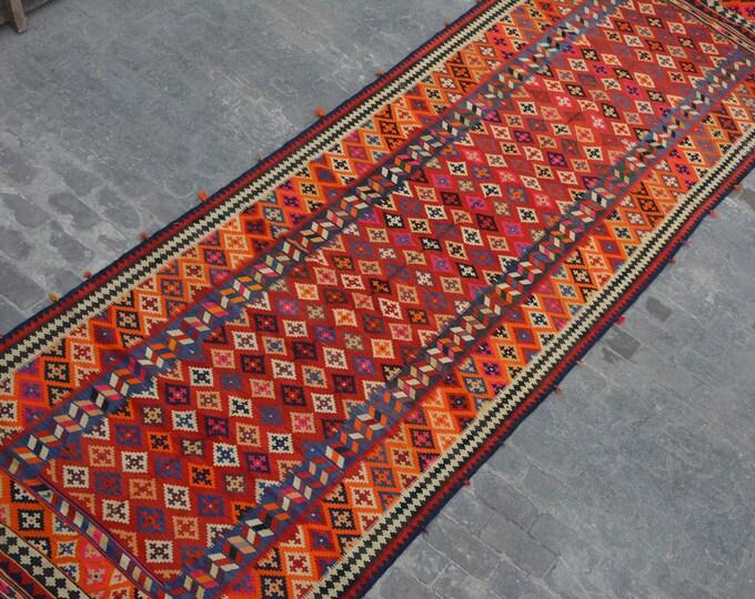 Long Vintage Spectacular handwoven tribal Turkish nomadic kilim runner / Traditional kuchi kilim/ decorative Turkish Gypsy kilim