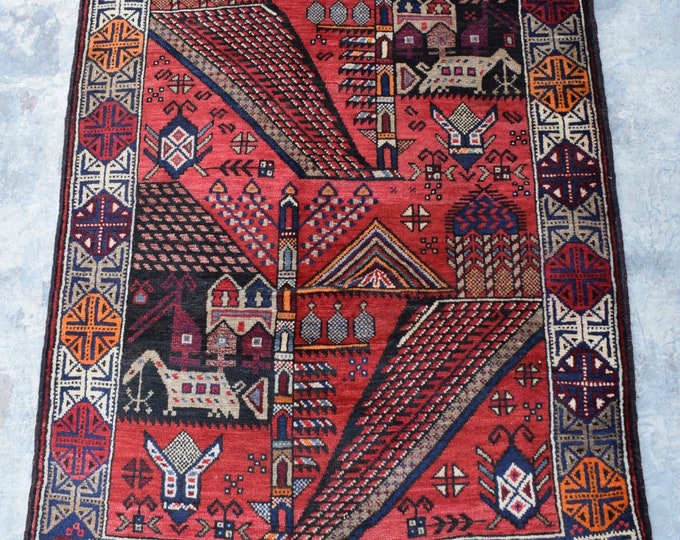 Free Shipping/ Colorful handmade vintage afghan rug /3'0 x 4'7 ft.