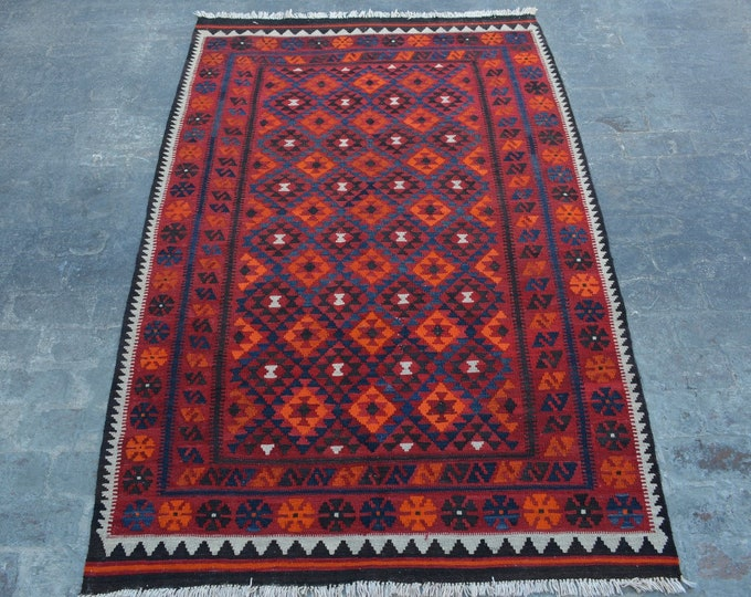 4'10 x 7'11 ft. - Elegant Afghan Tribal ghalmori kilim Rug, Traditional Handwoven Kilim